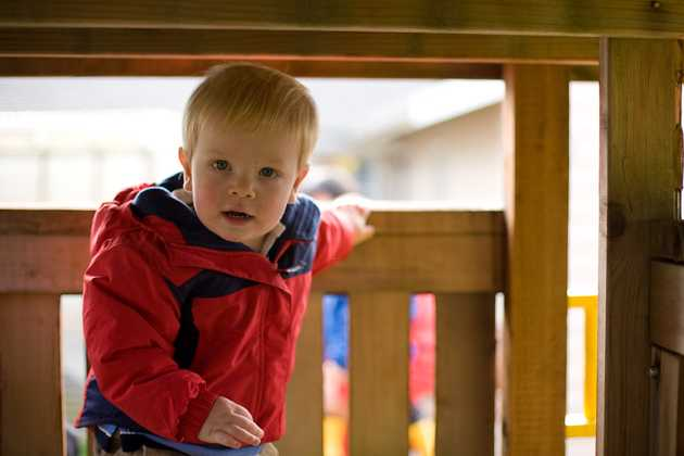 Alex in the playset